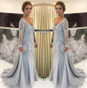 Graceful Lace Mother Of The Bride Dresses V Neck Long Sleeves Tulle Appliques Plus Size Floor Length Women Formal Evening Mother Gowns