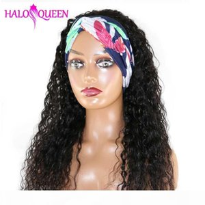 HALOQUEEN Water Wave Wigs Glueless Headbang Wig Water Wave Human Hair Wigs With Bangs Brizilian Hair Remy Density 150%