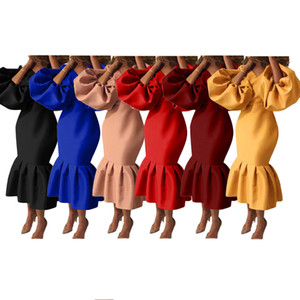 Evening dresses plus size one piece set womens long sleeve Fishtail skirt sexy bodycon dress casual dresses party beach club dress klw0186