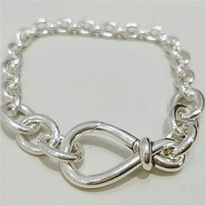 High-quality 925 Sterling Silver Chunky Infinity Knot Chain Bracelet Fits European Pandora Style Charms and Beads