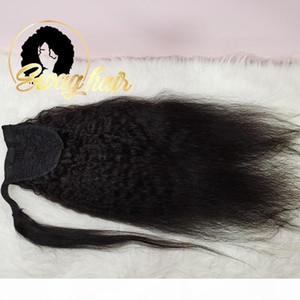 Swag Hair Kinky Straight Ponytail Ponytail Remy Clip per capelli brasiliano in codici a cavallo con coulisse nero naturale 100% umano per la donna nera