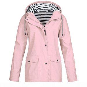 Womens Rain Mac Capuche imperméable femme imperméable manteau extérieur veste coupe-vent