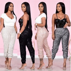 Pantalones de cintura alta Lentejuelas mujeres del diseñador que los pantalones del lápiz manera más la Mujeres Pantalones Casual
