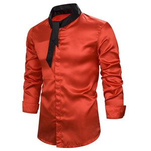 Red Black Hit Color Long Sleeve Shirt Men 2020 Autumn New Slim Fit Casual Shirt Mens Teen Student Party Prom Dress Shirts XXL