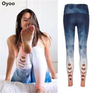 Oyoo Moon Pink Yoga Calças Ombre Impresso Leggings Esporte Mulheres Fitness Gym Roupas Femininas Wokout Meios de Yoga Leggins Y200904