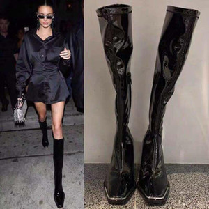 New Black Patent Leather Knee High Boots women Metal square Toe Chunky High Heel Long Boots Winter Party shoes Woman botas mujer