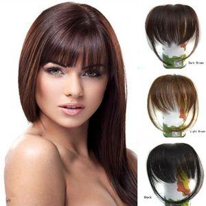 Sara 10 * 20см, 100% настоящий человеческий взрыв бахрома натуральный клип натуральные волосы в кускам HairPieces Franja Hairdo Black Brown Bangs