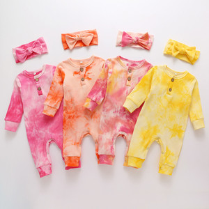 kids clothes girls Tie dye Rompers infant Jumpsuits with Bow 2021 Spring Autumn Boutique newborn baby Climbing clothes Z2037