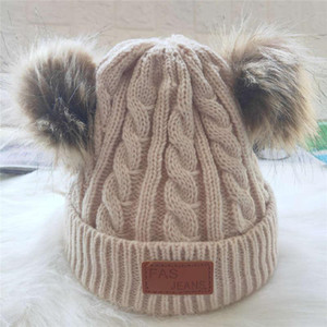 2020 Winter Hats Women Thick Bucket Hats With Two Fur Balls Color Lamb Wool Hat Warm Hats Caps