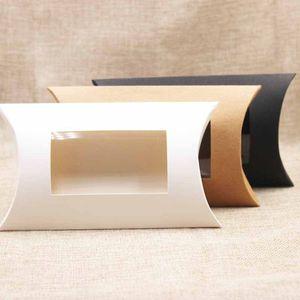 Caja de almohada Kraft con ventana en blanco Negro Blanco Blanco Forma de almohada Caja de embalaje de papel de papel para caramelo Snack Soap
