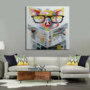 """""""Hand Painted Newspaper Pig Animals """"Framed & Unframed Home Decor Handcrafts  HD Print Oil Painting On Canvas Wall Art Canvas Pictures ER084"""