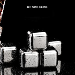 8pcs set With Tongs Cube Ice Frozen Mold Set Stainless Steel Ice Metal Model tongs Coffee Drink Whisky Bar Ice Wine Stone Creative DHE3422