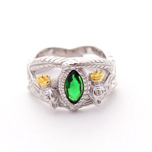 925 Sterling Silver Lord of Rings LOTR Aragorn's Ring of Barahir Mens Crystal Ring US size 8-13# Y1124