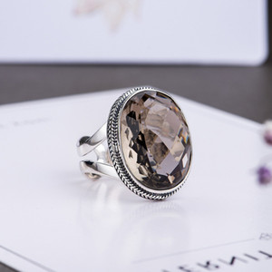 Authentic Silver 925 Rings Exaggerated Smoky Quartz Faceted Ring Women Natural Stone Opening Type Fine Jewellery Y1128