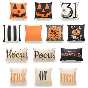 45*45cm Halloween Cotton Linen Pumpkin Trick Or Treat Throw Pillow Case Cover Car Sofa Cushion Cover Home Party Decorative Pillowcase