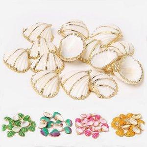 4 pcs 18-30mm colorido ouro prata cor rosqueado conchas de concha de concha pingentes para brinco colar pulseira jóias fazendo diy1