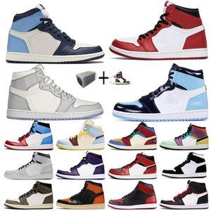 Jumpman 1 basket-ball pour hommes chaussures Jordan  shoes Sneakers Tie Dye de fumée gris Travis Scotts UNC Mens Chicago Turbo jordan retro vert Obsidian Formateurs femmes