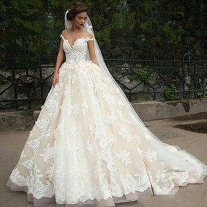 Vintage Turkey Plus Size Lace Ball Gown Wedding Dress Bridal Gowns 2018 Off Shoulder Princess Lebanon Illusion Arab Bride