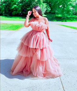 Sexy Blush Pink Strapless High Low Prom Dresses Puffy A Line Ruffles Tiered Skirt Long Formal Party Evening Gowns Sleeveless Pageant Dress