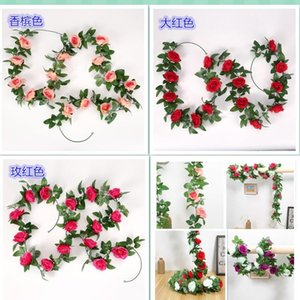 245cm Artificial Roses Flower String Home Garden Birthday Party Decoration DIY Wedding Arches Garland Flower Wall Fake Flowers