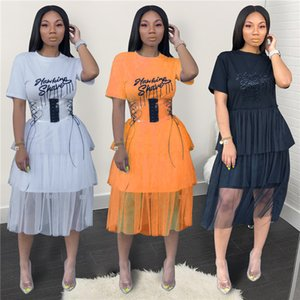 Mesh Tassel Dress Fashionl Letters Casual Fashion Dress New Arrival Without Belt