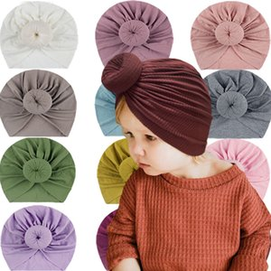 2021 New Donut Baby Hat Newborn Elastic Cotton Baby Beanie Cap Bow Multi Color Infant Turban Hats Baby Headband