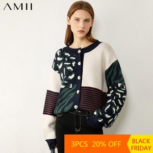 Amii Minimalism Autumn Winter Fashion Sweaters For Women Causal Onck Printed Loose Women's Sweater Women's sweater 12040603 Z1123