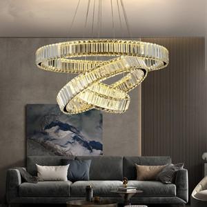 Luxury Modern Copper Chandelier Lighting Living Room Staircase LED Crystal Lamp Home Decoration Cristal Lustre Lighting Fixtures