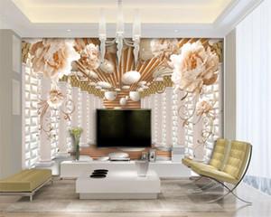 Lujo 3D Flor Wallpaper de estilo europeo elegante Peony Flower Columna Romana Extensión TV Fondo Fondo Mural Papel Pintado 3D