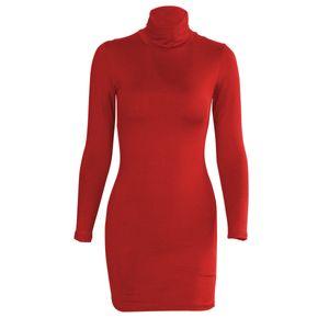 womens fashion dressladies dress high collar long sleeve slim bag hip skirt QZXM15COdd