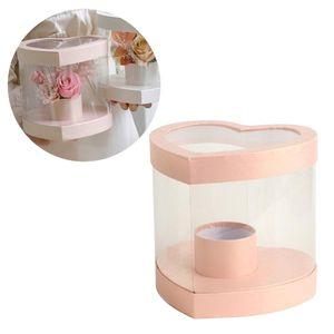 Floral Flor Packaging Cajas Arreglos PVC Transparente Decoración de la boda Corazón Cajas de regalo para el Día de San Valentín Regalos de Navidad