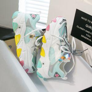 Ulzzang Fashion Sneakers Woman Yellow Chunky Casual Shoes Platform Designers Female Mesh Women Vulcanized Shoes 2020 Trainers