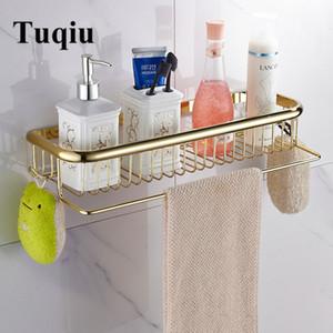 Tuqiu altın raf havlu askısı ile 30 cm / 45 cm raflar pirinç şampuan sepeti banyo tutucu T200801