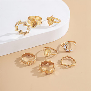 6Sets Lot European Geometric Moon Opening Rings Sets With Rhinestone Alloy Gold Irregular Cross Finger Rings Women 8 Pieces Hand Jewelry Set