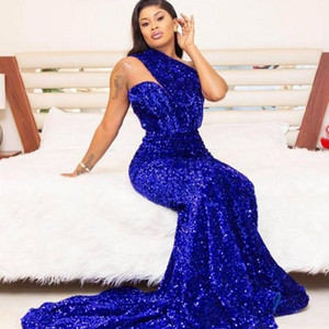Royal Blue Sequined Evening Dresses Plus Size One Shoulder Mermaid Prom Dress vestido de novia Sexy Party Celebrity Gowns