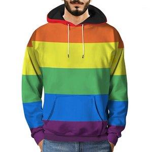 Felpe con cappuccio da uomo Felpe da uomo 3d felpa con cappuccio pullover autunno casual rainbow vestiti manica lunga uomo top vetennement Homme 20211