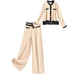 2020 Fall Langhülse Braun / Beige Rundhals Strick Single-Breated Cardigans Pullover + Taschen Hosen Zwei Stück 2 Stück Set