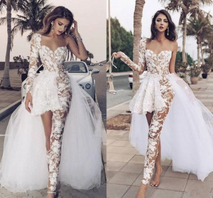 Jumpsuits Boho Wedding Dresses 2021 Lace Appliques One Shoulder Overskirts A Line Bridal Gowns With Pants See Through robe de mariee AL7684