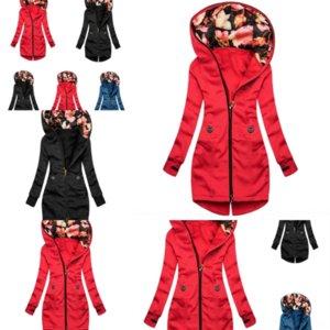 6EOY Moda Rahat Uzun Kadın Ceket Kuzey Dikiş Ceket Kadın Patchwork O-Boyun Açık Stylestripe Fa