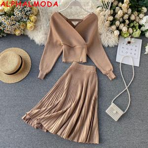 Alphalmoda 2019 Sparkling A-Line Donna Fashion 2pcs Suit Brillante Silk Batsleeve Maglione Gonna pieghettata