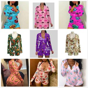 Donne da donna Paglia Designer Designer Pigiama Onesies Nightwear Body Workout Button Skinny Hot Print V-Neck Short Onesies