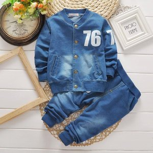 Spring Autumn Toddler Boy Cotton Long Sleeve Denim Letter Tshirt + Pants Baby Clothes Kids 2Pcs Kids Clothing Suit