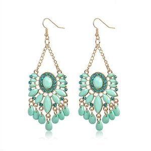 mint green oval water drop acrylic crystal beads gold alloy charm retro chandelier pendant charms drop dangle earring for women