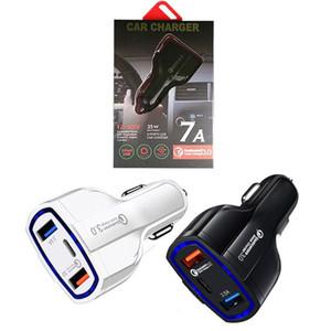 Tipo C Car Charger 3 portas USB rápida rápida carga de energia Auto aAdaptador 35W 7A carregadores de carro para o ipad iPhone X XR 11 12 Pro Max Android Phone