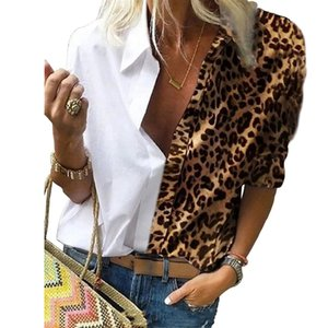 2020 Autumn and Winter Europe and America Cross Border Womens Long-Sleeved Printed Leopard Print Loose Shirt Chiffon Shirt