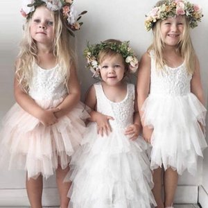 Toddler Girl Baby Clothing Dresses 2020 White Lace First Communiton Birthday Party Princess Dress Backless Tulle Tutu Dresses Girls Dress