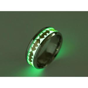 Mens Ring Luminous Rings For Men Black Gold Silver Stainless Steel Women Rings Glow In The Dark sqcUis beauty888