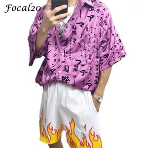 FOCAL20 Streetwear Японская печать женщин блуза рубашка с коротким рукавом поворотный воротник карманная кнопка повседневная свободная женская блузка топ1