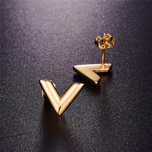 316L Brincos de Aço Inoxidável para Mulheres Rosa Gold-Color Marca V Carta Triângulo Bonito Stud Brincos Jóias Gift Designer Bolsa Luxo