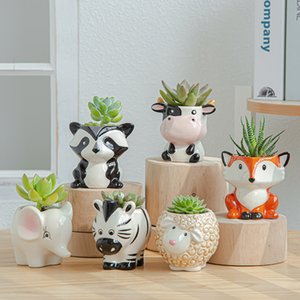 6PCS Set New Cartoon Animals Flower Pot for Succulents Fleshy Plants Flowerpot Ceramic Small Mini Home Garden Office Decoration lxj197